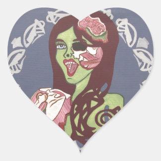Guiño del chica del zombi calcomania corazon