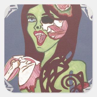 Guiño del chica del zombi calcomania cuadrada personalizada