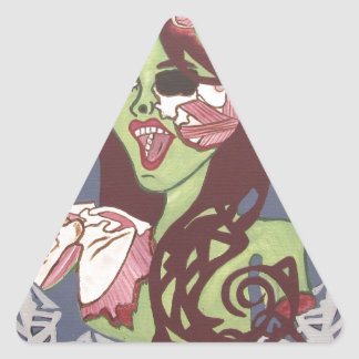 Guiño del chica del zombi calcomanía de triangulo