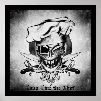 Guiño del cráneo del cocinero póster