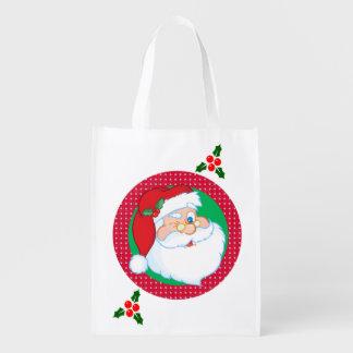 Guiño del día de fiesta de Papá Noel Bolsa Para La Compra