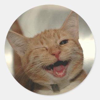 Guiño del gato feliz del jengibre pegatina redonda