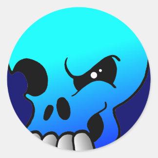 Guiño del pegatina del azul del diablo del cráneo