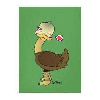 Guiño lindo de la avestruz impresión en lona