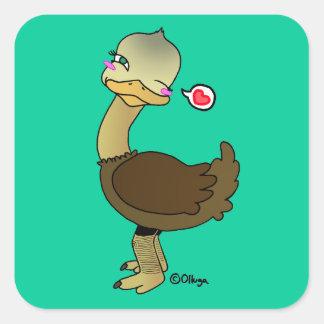 Guiño lindo de la avestruz calcomanía cuadrada personalizada
