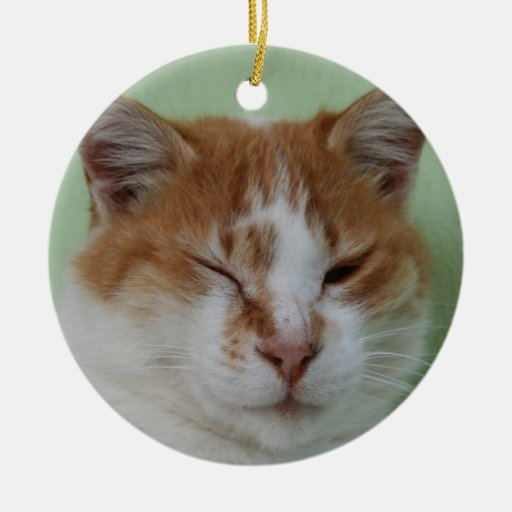 Guiño lindo del gato del color del BI Adorno Navideño Redondo De Cerámica