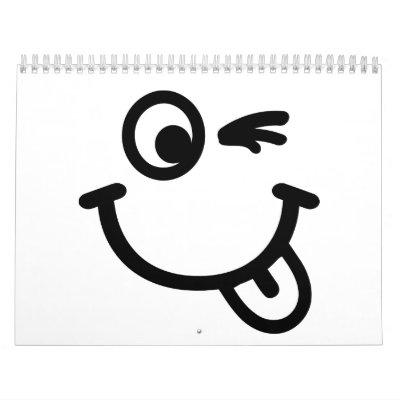 Guiño sonriente de la cara calendarios de pared