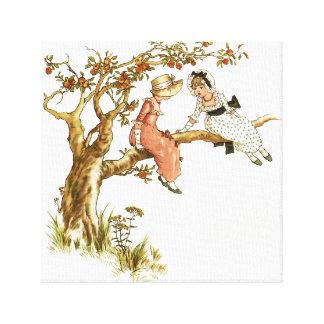 Guión de Kate Greenaway, chicas en el manzano Lona Envuelta Para Galerías