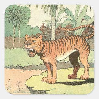 Guión del tigre pegatina cuadrada