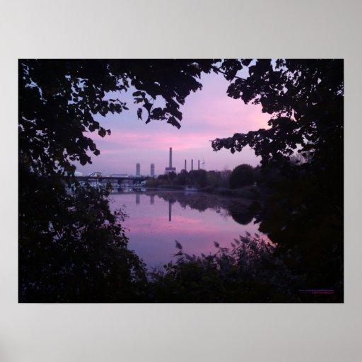 Guirnalda 2 de la puesta del sol del otoño póster