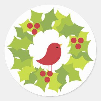 Guirnalda 2 del navidad pegatina redonda