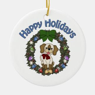 Guirnalda adorable del perro de Holday del navidad Adorno Navideño Redondo De Cerámica