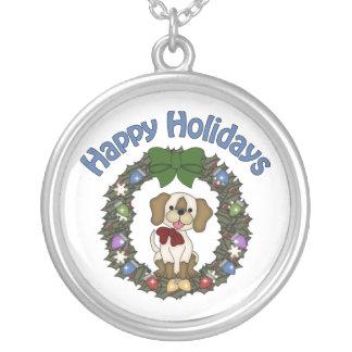 Guirnalda adorable del perro de Holday del navidad Colgante Redondo
