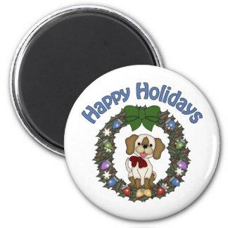 Guirnalda adorable del perro de Holday del navidad Imán Redondo 5 Cm