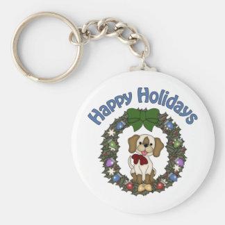 Guirnalda adorable del perro de Holday del navidad Llavero Redondo Tipo Pin