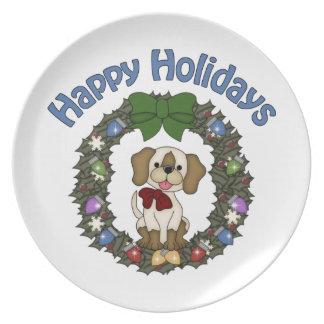Guirnalda adorable del perro de Holday del navidad Platos De Comidas