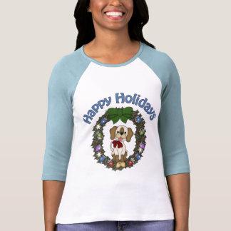 Guirnalda adorable del perro de Holday del navidad Playera