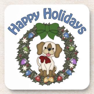 Guirnalda adorable del perro de Holday del navidad Posavasos De Bebida