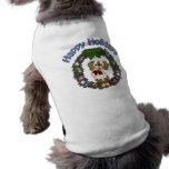 Guirnalda adorable del perro de Holday del navidad Camiseta De Perro