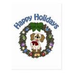Guirnalda adorable del perro de Holday del navidad Postal