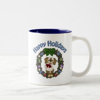 Guirnalda adorable del perro de Holday del navidad Taza Dos Tonos