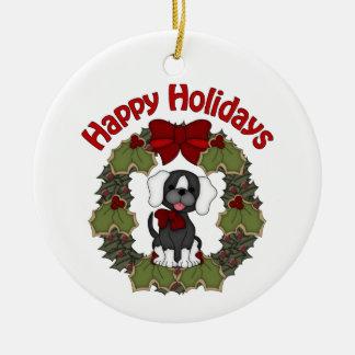 Guirnalda adorable del perro del día de fiesta del adorno navideño redondo de cerámica
