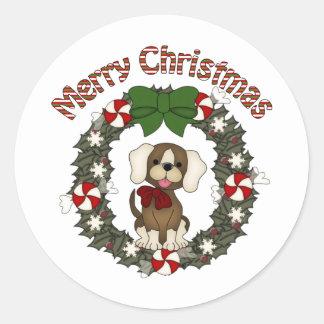 Guirnalda adorable del perro del día de fiesta del pegatina redonda
