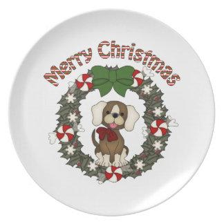 Guirnalda adorable del perro del día de fiesta del plato de comida