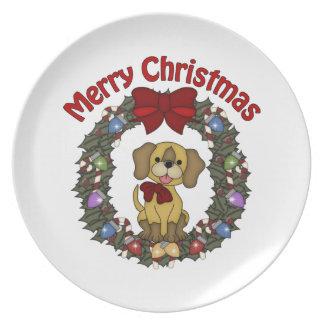 Guirnalda adorable del perro del día de fiesta del platos