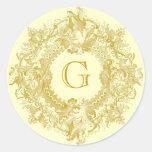 Guirnalda adornada del Flourish del oro del Etiqueta Redonda