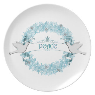Guirnalda azul de la paz con la placa de las palom plato para fiesta
