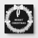 Guirnalda blanca y negra de Navidad Placas Con Foto