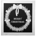 Guirnalda blanca y negra de Navidad Servilleta Imprimida