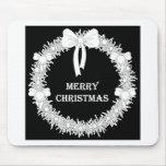 Guirnalda blanca y negra de Navidad Alfombrillas De Raton