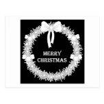 Guirnalda blanca y negra de Navidad Tarjetas Postales