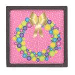 Guirnalda bonita del navidad en rosa caja de joyas de calidad