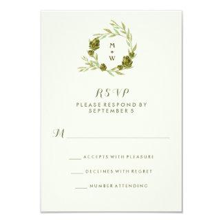 """Guirnalda botánica con las hojas y las alcachofas invitación 3.5"""" x 5"""""""