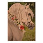 """Guirnalda cabeza de caballo árabe de los rosas"" Felicitacion"