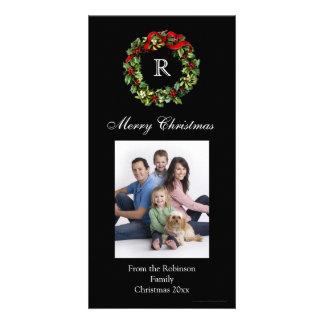 Guirnalda clásica del navidad con monograma tarjetas con fotos personalizadas