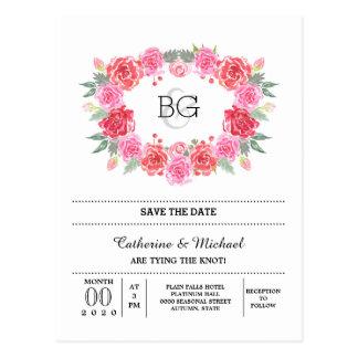 Guirnalda color de rosa romántica de la acuarela tarjeta postal
