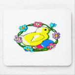 guirnalda colorida del polluelo amarillo de flower tapetes de raton