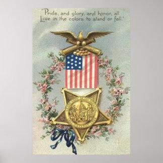 Guirnalda de Eagle de la medalla de la guerra Póster