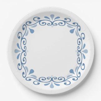 Guirnalda de encaje azul de la voluta platos de papel