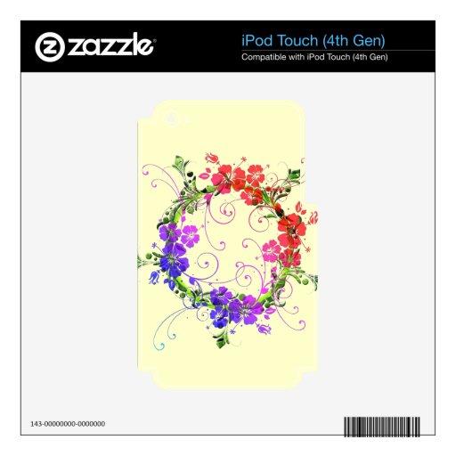 Guirnalda de flores calcomanías para iPod touch 4G