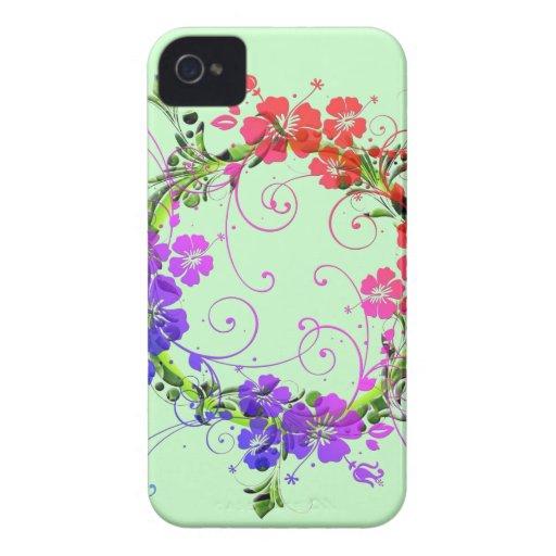 Guirnalda de flores iPhone 4 Case-Mate coberturas