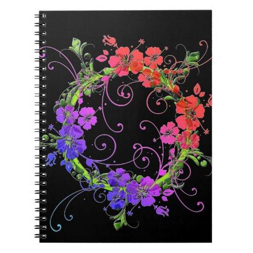 Guirnalda de flores libreta espiral