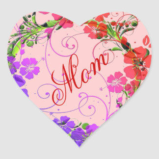 Guirnalda de flores pegatina en forma de corazón