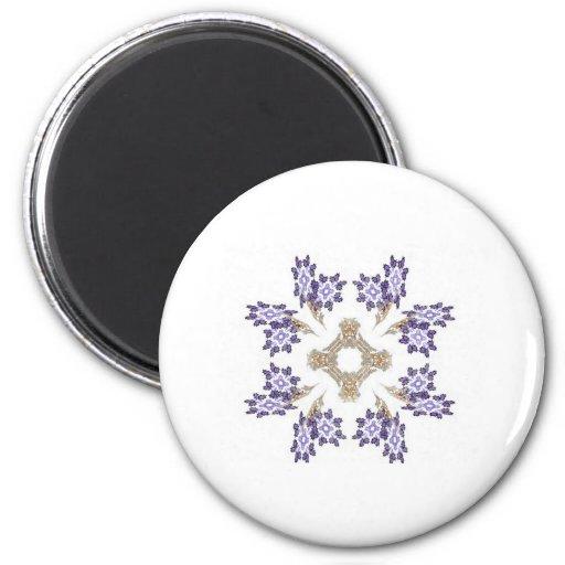 Guirnalda de la flor del arte del fractal del azul imán de frigorífico
