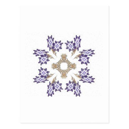 Guirnalda de la flor del arte del fractal del azul tarjeta postal