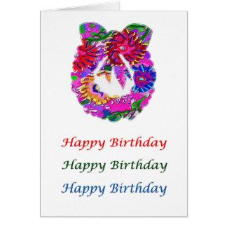 Guirnalda de la flor del arte n de HappyBirthday Tarjeta De Felicitación
